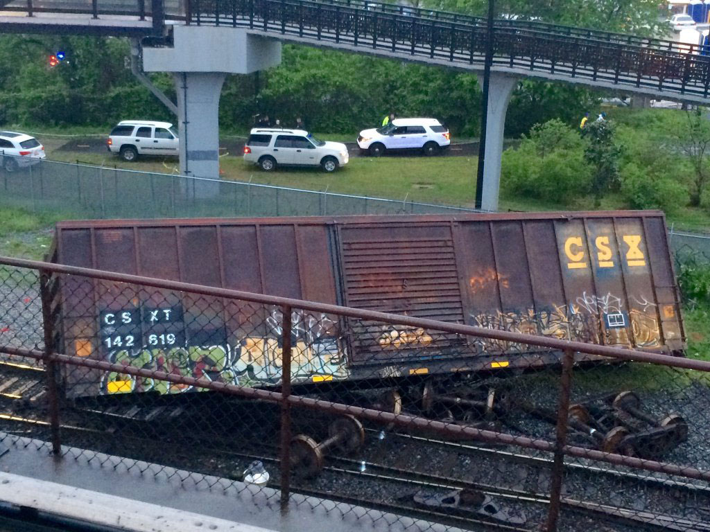 Freight derailment clearing continues; MARC delayed
