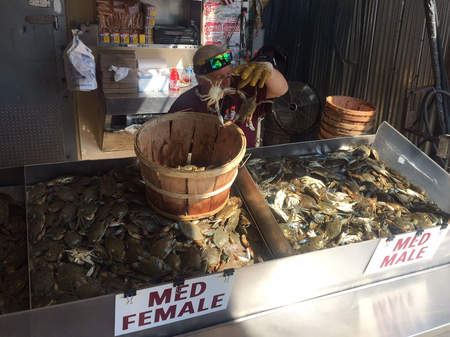 The competition for out-of-state crabs has kept prices up, with a half bushel coating $60 as of Friday morning. (WTOP/John Aaron)
