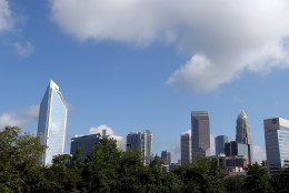 CHARLOTTE, NC - AUGUST 31:  A general view of the Charlotte skyline after the Democratic National Convention Committee Unveiling Stage for the DNC at Time Warner Cable Arena on August 31, 2012 in Charlotte, North Carolina.  (Photo by Streeter Lecka/Getty Images)