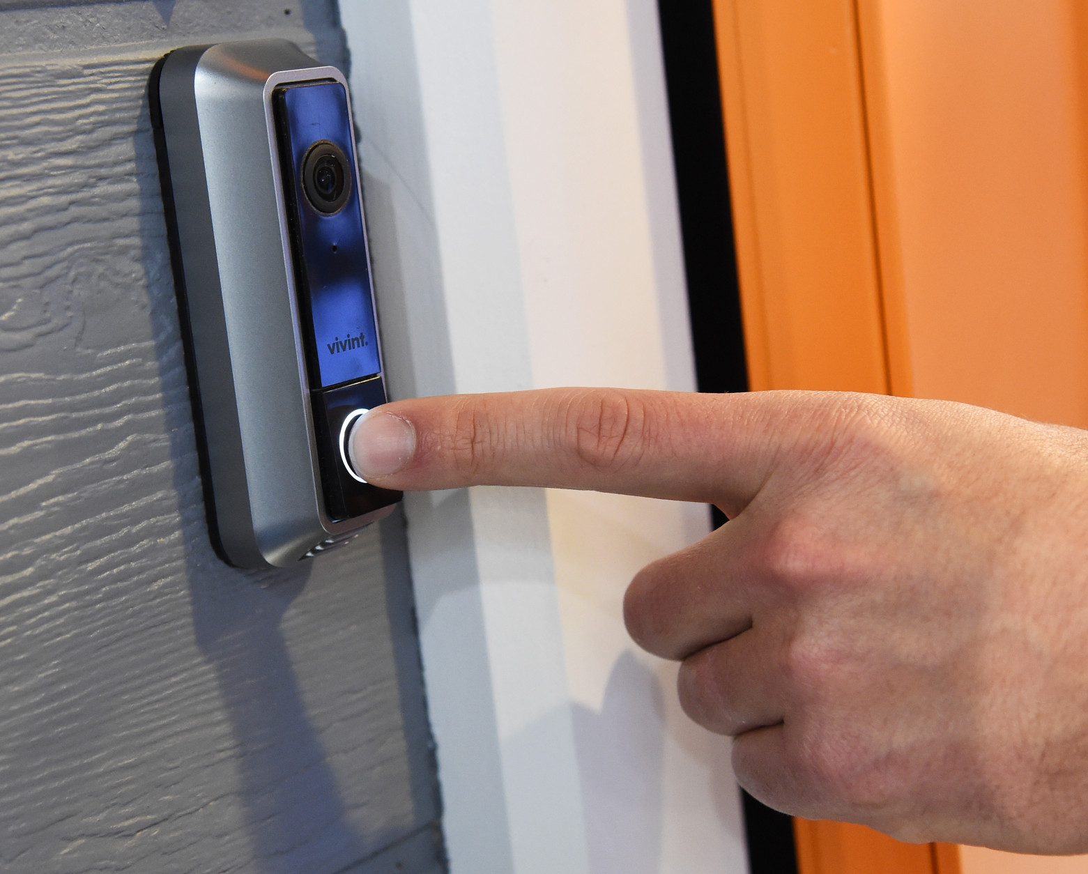 LAS VEGAS, NV - JANUARY 07:  The Vivint Doorbell Camera is displayed at CES 2016 at the Sands Expo and Convention Center on January 7, 2016 in Las Vegas, Nevada. It works with the Vivint Sky smart home system and features two-way talk via a built-in microphone and speaker, a 180-degree camera lens with night vision, and on-demand access to 30-second video clips it records. Customers able to see who is at the door on their smartphones can lock or unlock the door remotely. CES, the world's largest annual consumer technology trade show, runs through January 9 and features 3,600 exhibitors showing off their latest products and services to more than 150,000 attendees.  (Photo by Ethan Miller/Getty Images)