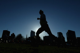 BOSTON, MA - APRIL 16:  A runner warms up in the Boston Common before the 2016 B.A.A. 5k on April 16, 2016 in Boston, Massachusetts.  (Photo by Maddie Meyer/Getty Images)