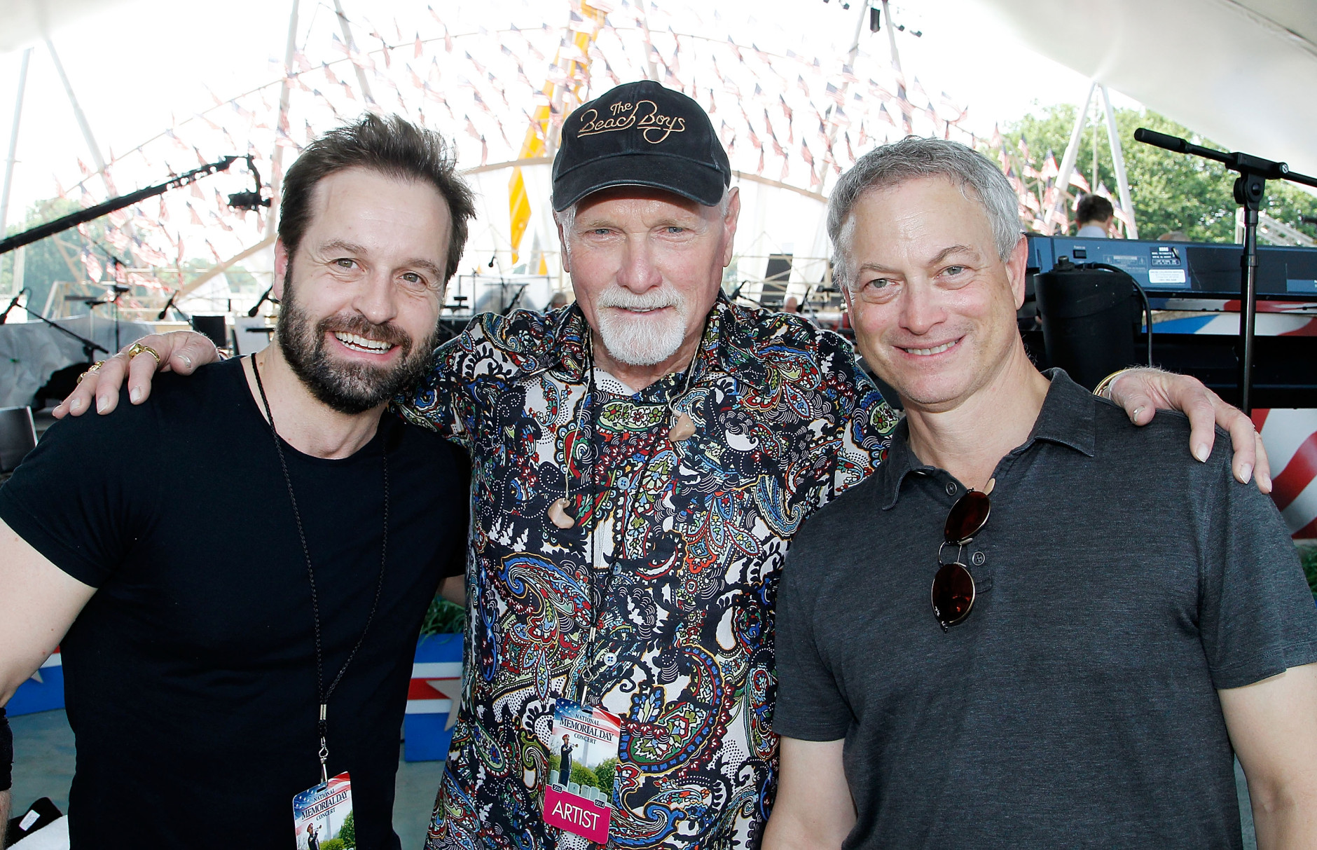 WASHINGTON, DC - MAY 28:  (L to R) Tenor Alfie Boe, Mike Love of The Beach Boys and actor Gary Sinise pose for a photo during the 27th National Memorial Day Concert Rehearsals on May 28, 2016 in Washington, DC.  (Photo by Paul Morigi/Getty Images for Capitol Concerts)