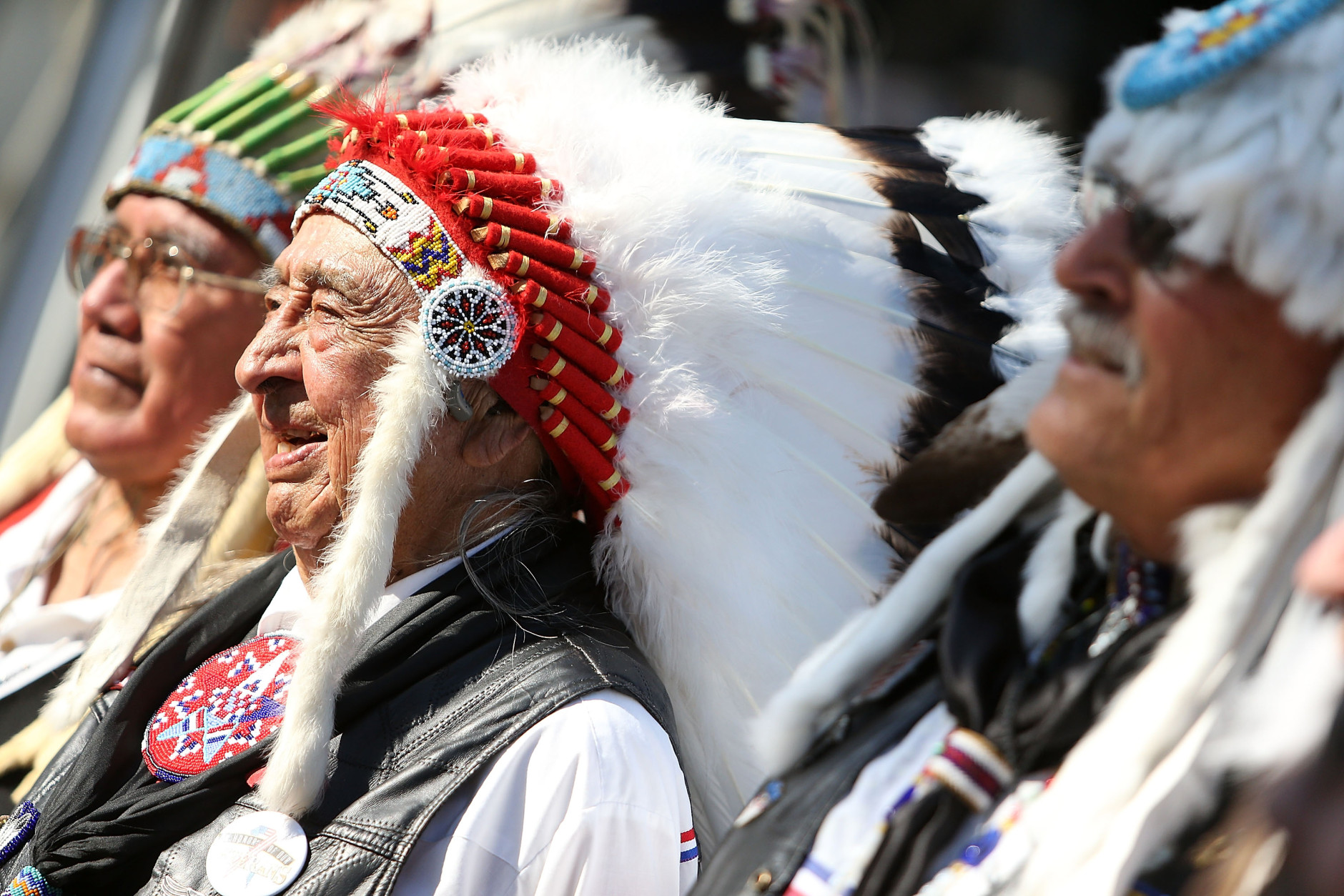 WASHINGTON, DC - MAY 28:   Veterans from the Yakama Warriors Association pose for a photo during the 27th National Memorial Day Concert Rehearsals on May 28, 2016 in Washington, DC.  (Photo by Paul Morigi/Getty Images for Capitol Concerts)