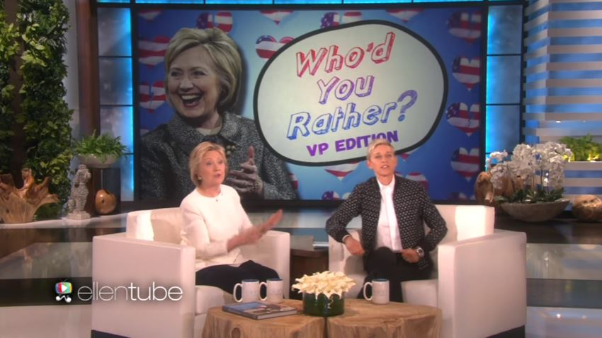 Clinton picks actor over Biden, Sanders for VP in 'Ellen' game