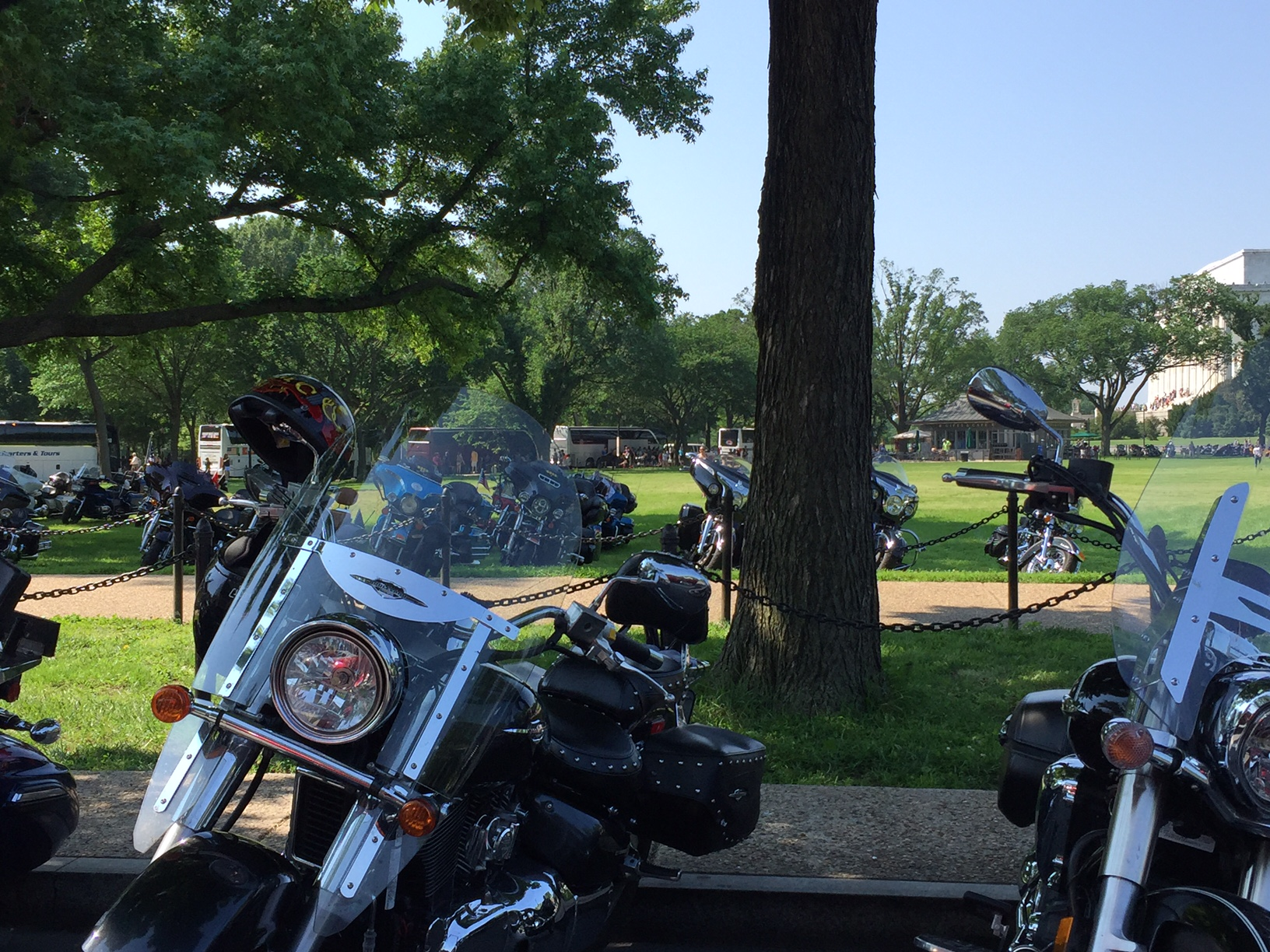 Thousands of bikers are in Washington this weekend for the annual Rolling Thunder Run to honor those who have served in the Armed Forces. (WTOP/Dennis Foley)
