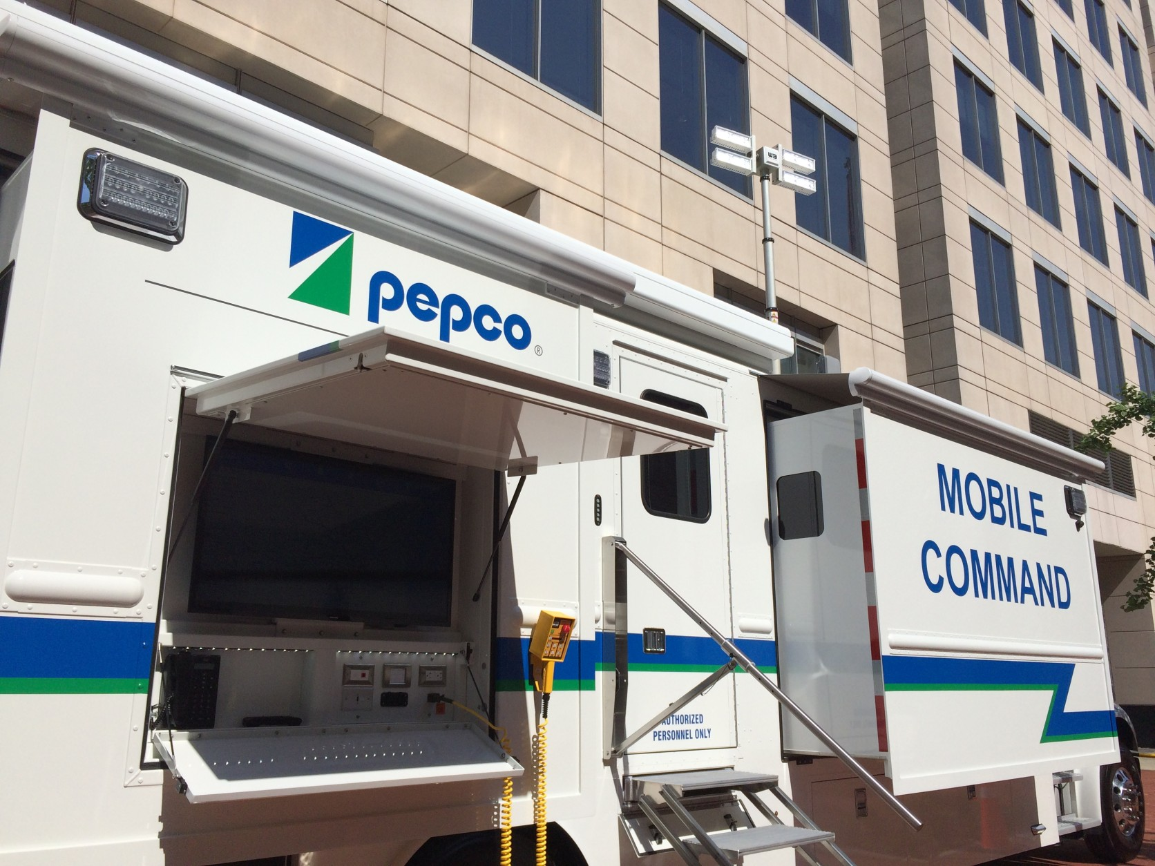 Pepco's massive new vehicle will help coordinate response to summer storms. (WTOP/Nick Iannelli)