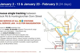 Metro's plan for Jan. 2-13, and Jan. 23-Feb. 3. (Courtesy Metro)