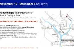 Metro's plan for Nov. 12 - Dec. 6. (Courtesy Metro)