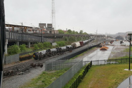 Several cars remain overturned after a CSX freight train derailed in Washington on Sunday, May 1, 2016. (DC Fire and EMS via AP)