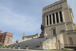 This April 19. 2016 photos shows the Indianapolis War Memorial in the city's downtown. The monument honors World War I veterans. Locals sometimes use the monument's many steps for fitness workouts. (AP Photo/Beth J. Harpaz)