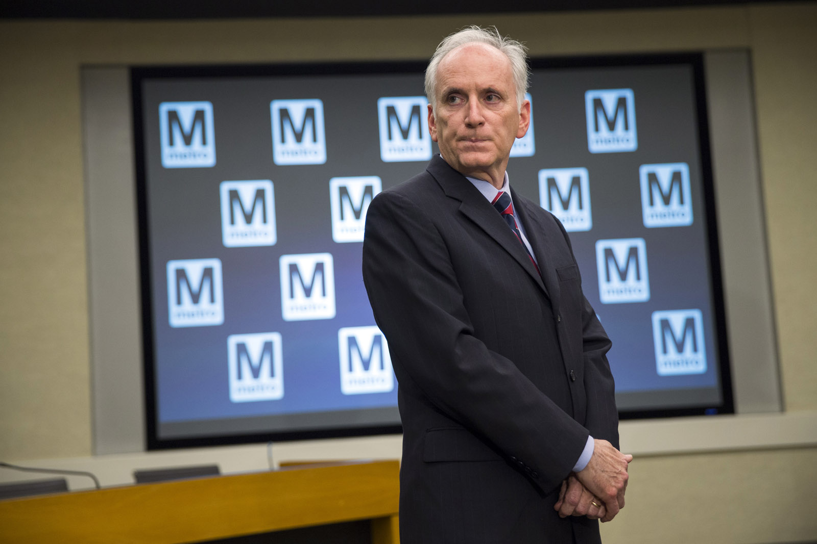 Metro general manager Paul Wiedefeld listens to a question in this  March 15, 2016, file photo. Friday he announced his plan to refurbish significant portions of the Metrorail system. The repairs will significantly reduce service for riders round-the-clock, include rush hour and weekend service, while entire stretches of track are closed or trains share a single track for weeks at a time. The yearlong repairs could begin as soon as June 4. (AP Photo/Evan Vucci)