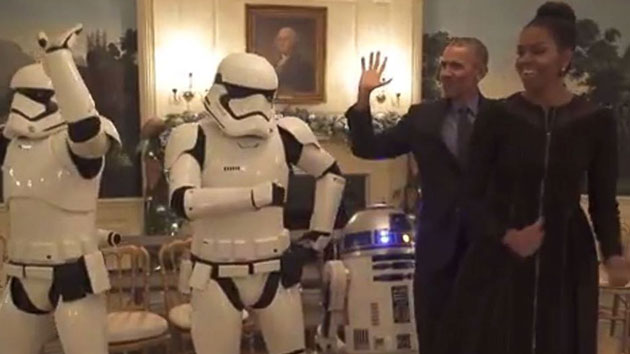 Obamas have dance-off with Stormtroopers, R2-D2 for 'Star Wars' Day