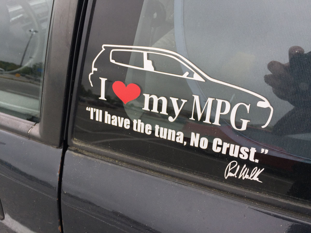 A sticker on the side of Joe Cline's car hints at its ultimate purpose. (WTOP/Michelle Basch)