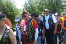 American Legion members arrive at Arlington National Cemetary honoring unknown Civil War soldiers. (WTOP/Allison Keyes)