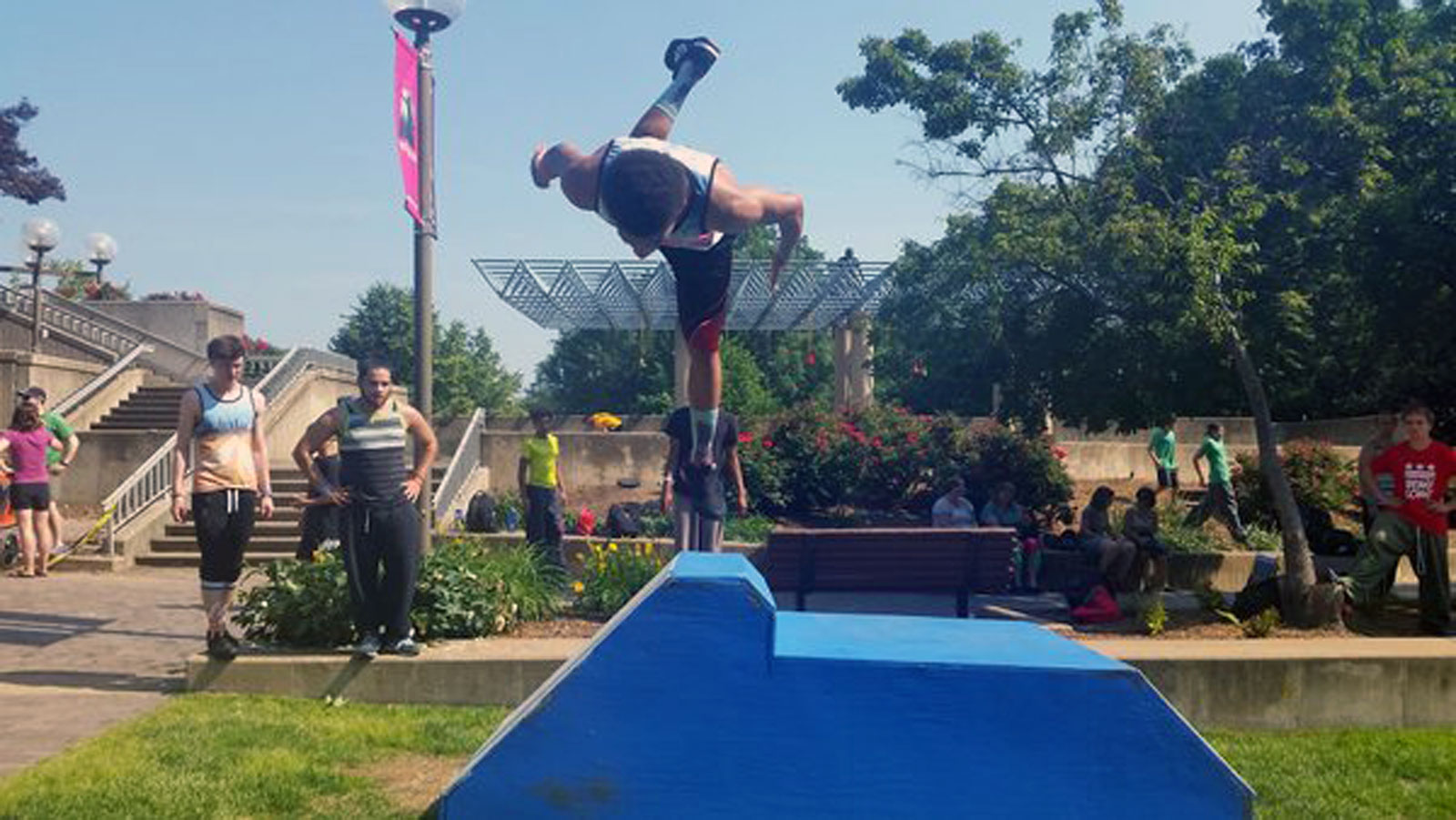 Defying gravity at American Parkour Festival in Rosslyn at Gateway Park. (WTOP/Kathy Stewart)