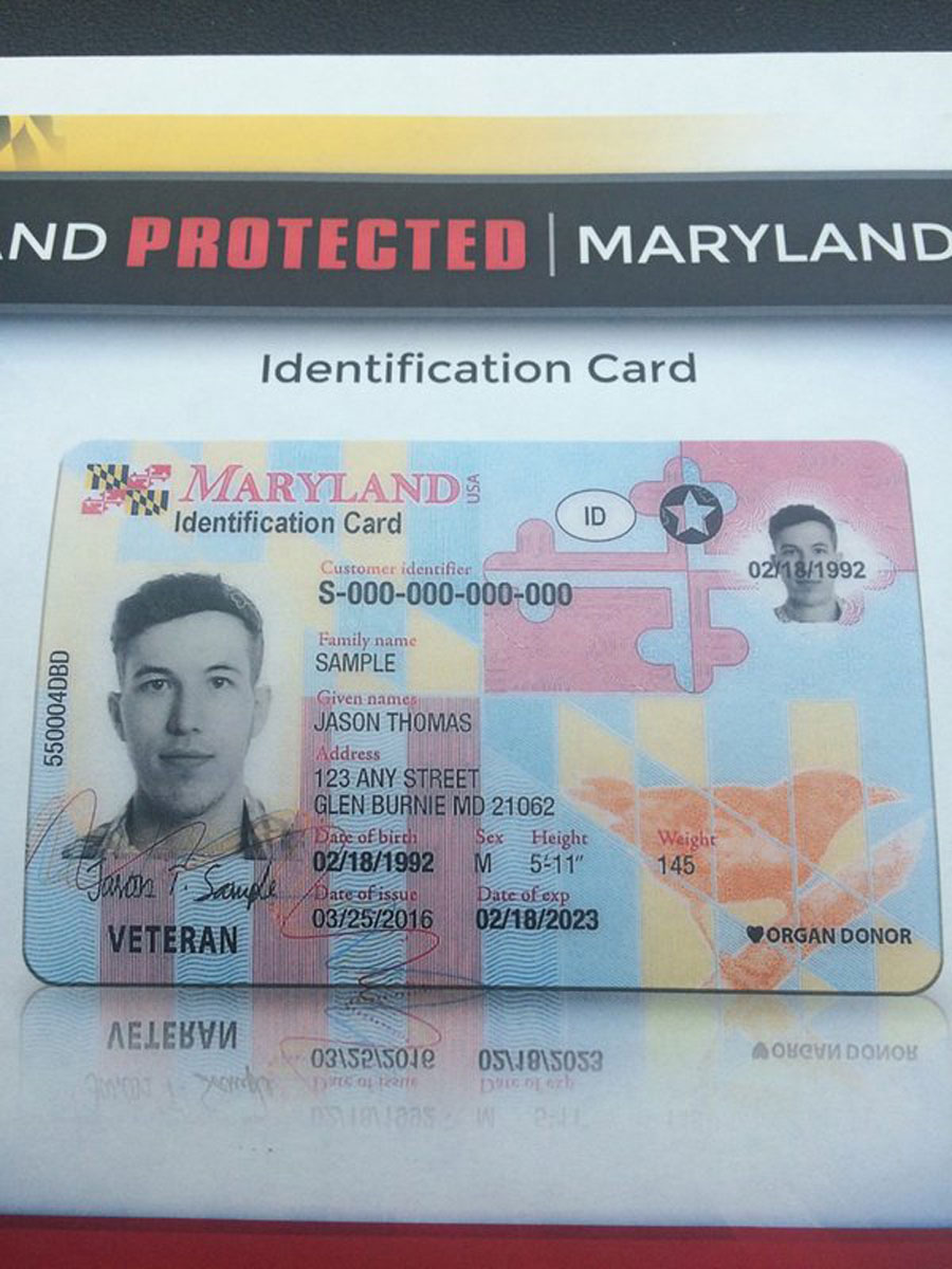 Military veterans get new addition on front of Maryland license. (WTOP/Dick Uliano)