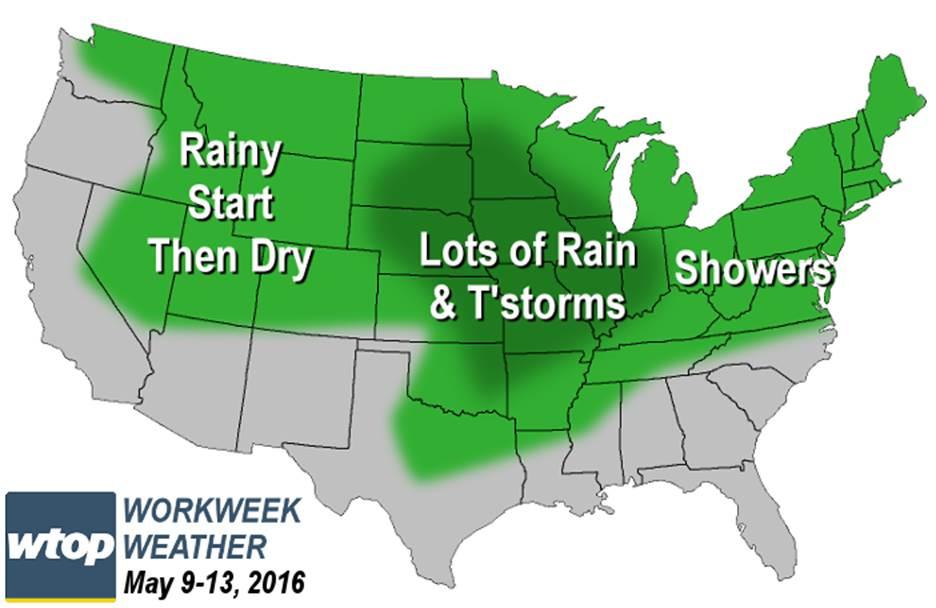 Workweek weather: More rain, storms