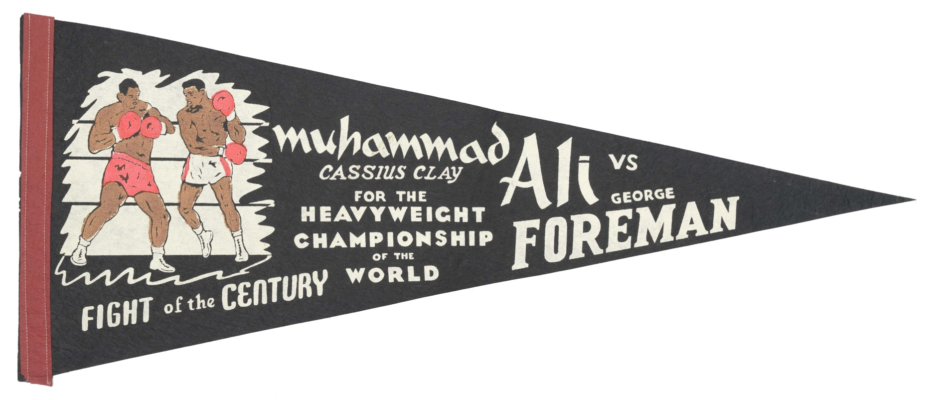 A black felt pennant with white lettering and a graphic of Muhammad Ali and George Foreman fighting in a boxing ring. (Courtesy Collection of the Smithsonian National Museum of African American History and Culture)