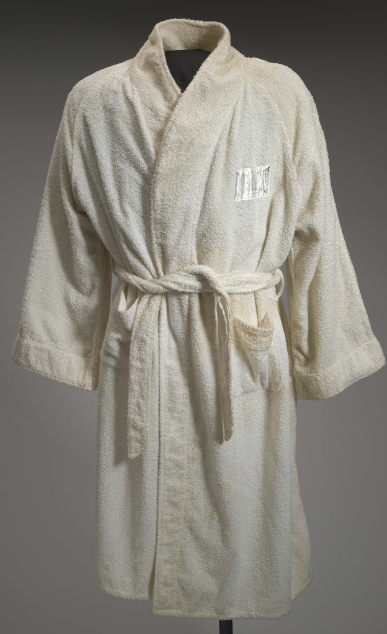 The 1964 training robe worn by Muhammad Ali at the 5th Street Gym where he once trained. (Courtesy Collection of the Smithsonian National Museum of African American History and Culture)