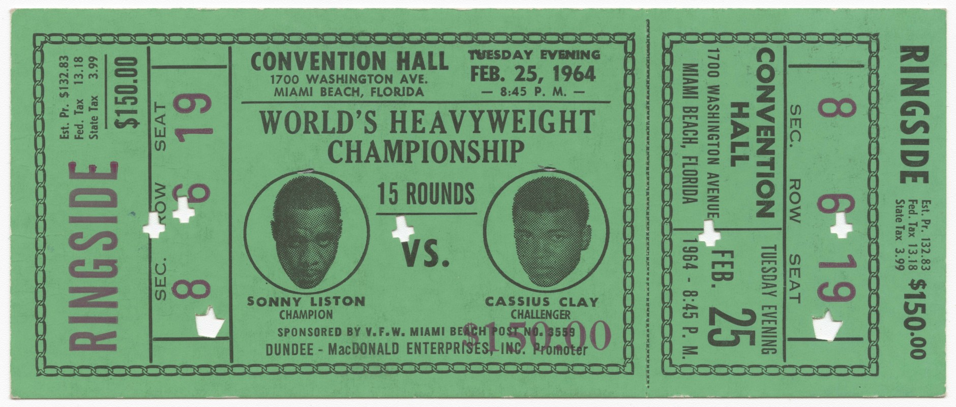 Green narrow ticket for the World Heavyweight Championship of Sonny Liston versus Cassius Clay (Muhammad Ali). (Courtesy Collection of the Smithsonian National Museum of African American History and Culture)