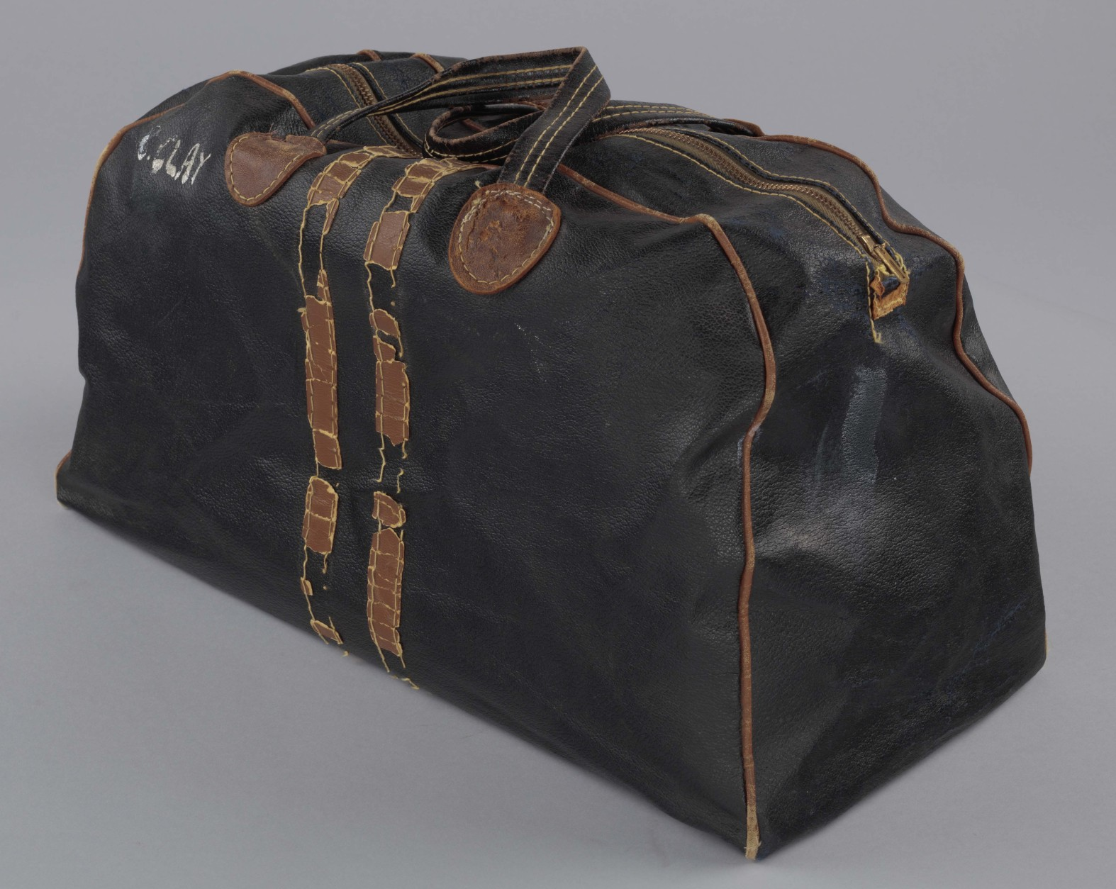 The gym bag used by Muhammad Ali in the 1960s. (Courtesy Collection of the Smithsonian National Museum of African American History and Culture)
