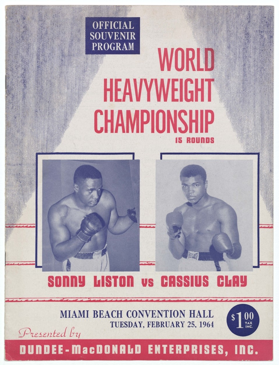 Official souvenir program of the World Heavyweight Championship of Sonny Liston versus Cassius Clay (Muhammad Ali). (Courtesy Collection of the Smithsonian National Museum of African American History and Culture)