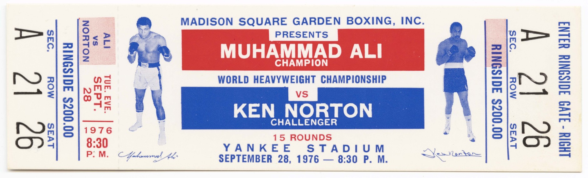 Ticket to the World Heaveywieght Championship boxing match between Muhammad Ali and Ken Norton. (Courtesy Collection of the Smithsonian National Museum of African American History and Culture)