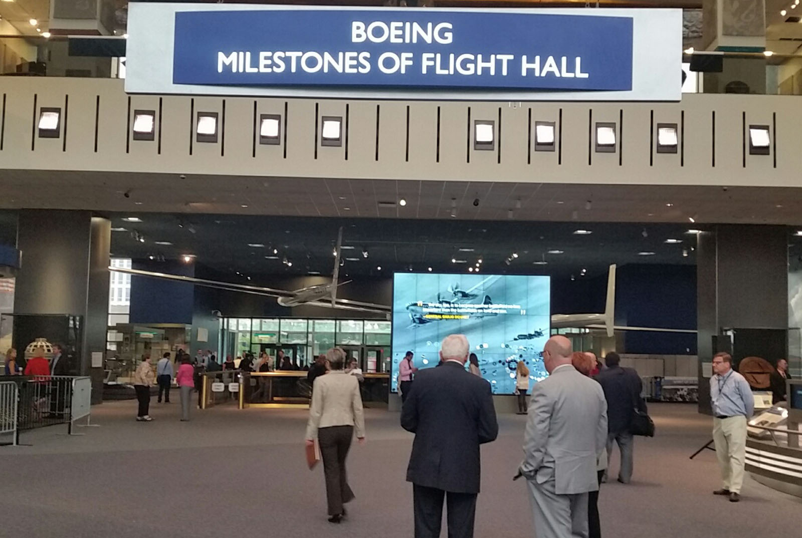 The newly revamped Boeing Milestones of Flight Hall at the Air and Space Museum. It was finished in time to celebrate the museum's 40th birthday. (WTOP/Kathy Stewart)
