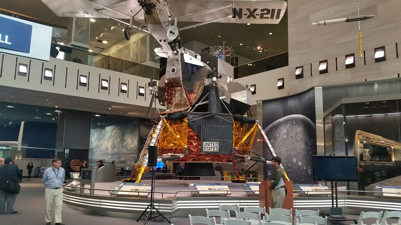 Another treat in the Flight Hall, the second lunar module that was made but did not fly in space. Curator Bob van der Linden says it was used for test purposes. (WTOP/Kathy Stewart)