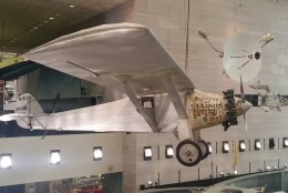 Other highlights in the Flight Hall include the renewed exhibit of Charles Lindbergh's Spirit of St. Louis, which he flew on a solo nonstop flight from New York to Paris in 1927.  (WTOP/Kathy Stewart)
