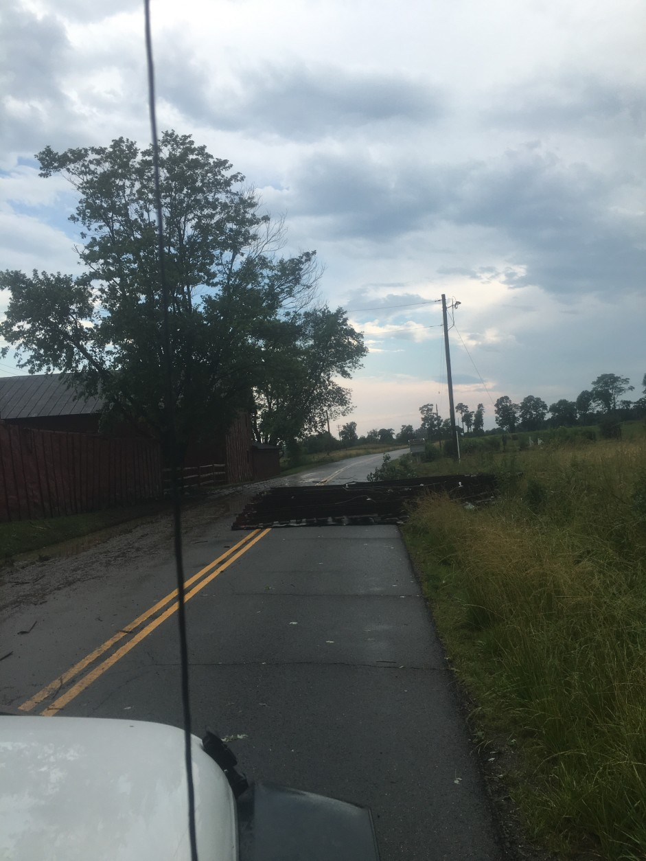 Barn roof pulled off during severe weather on June 21, 2016. (Photo submitted via WTOP app)