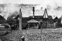 Lidice, Czechoslovakia on June 10, 1942, as the village of Lidice was burned to the ground. The destruction of the village was a bid by the Germans to root out a group of Czech resistance fighters. (AP Photo/Czech News Agency)