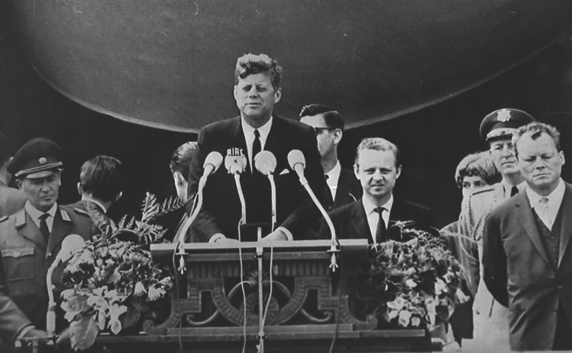 """KENNEDYs BERLIN WALL SPEECH - President John F. Kennedy delivers his famous speech """"I am a Berliner"""" (""""ich bin ein Berliner"""") in front of the city hall in West Berlin concerning the Berlin Wall, June 26, 1963. Fare right the mayor in office of West Berlin Willy Brandt. (AP-Photo)"""