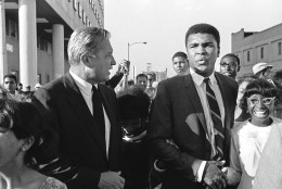 Muhammad Ali outside the Federal Courthouse after he had been found guilty on charges of refusing to be inducted into the Armed Forces on June 20, 1967 in Houston, Texas. (AP Photo)