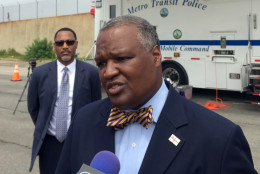 Prince George's County Executive Rushern Baker says that the state of Maryland is not doing enough to help Maryland commuters navigate around a planned Metro track shutdown that will cut off parts of the county from downtown D.C. Baker spoke during an event to reminder commuters about the two-week shutdown and what alternative options are available on Thursday, June 16, 2016. (WTOP/Max Smith)
