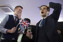 Supporters of leaving the EU celebrate at a party hosted by Leave.EU in central London as they watch results come in from around the country after Thursday's EU referendum, Friday, June 24, 2016. On Thursday, Britain voted in a national referendum on whether to stay inside the EU. (Stefan Rousseau/PA via AP) UNITED KINGDOM OUT, NO SALES, NO ARCHIVE