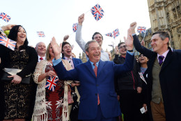 Nigel Farage, the leader of the UK Independence Party celebrates with his supporters in London, Friday, June 24, 2016. Britain voted to leave the European Union after a bitterly divisive referendum campaign, according to tallies of official results Friday. (Anthony Devlin/PA via AP) UNITED KINGDOM OUT, NO SALES, NO ARCHIVE
