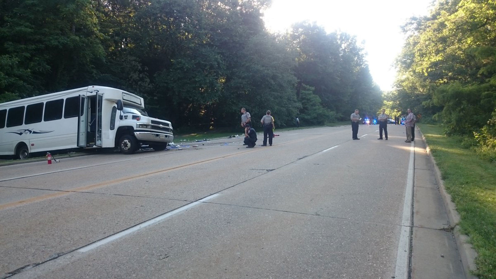 Investigators on the scene of the fatal bus crash on the George Washington Parkway. (Courtesy Fairfax County Police Department)