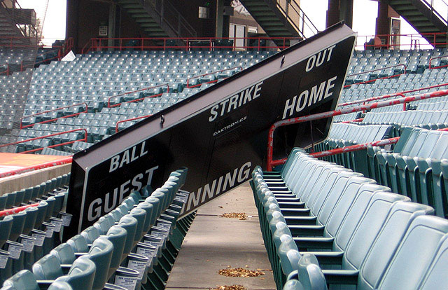 A piece of the scoreboard sits in the stands behind home plate after the storm. (Courtesy: New Orleans Zephyrs)