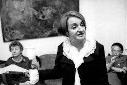 """ADVANCE FOR USE MONDAY, JUNE 20, 2016 AND THEREAFTER -FILE - In this Nov. 21, 1966 file photo, Betty Friedan, author of """"The Feminine Mystique,"""" speaks to a group in New York. The feminist is the founder of the National Organization for Women (NOW), which works for women's rights. (AP Photo/File)"""