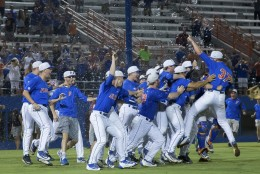The Florida team celebrates a 7-0 win over Florida State in Game 3 of an NCAA college baseball tournament super regional in Gainesville, Fla., on Monday, June 13, 2016. (AP Photo/Ronald Irby)
