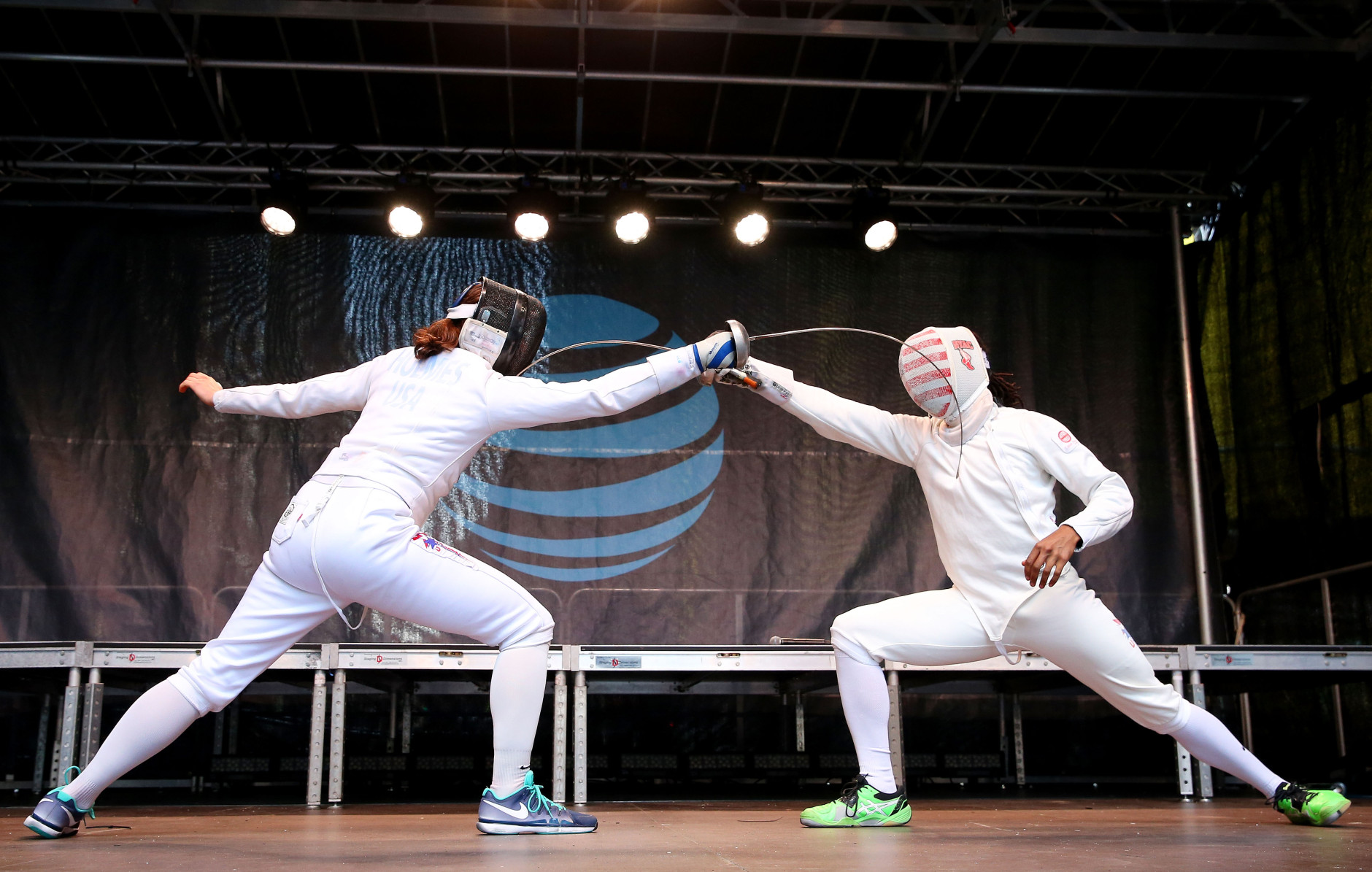 NEW YORK, NY - APRIL 27:  Jason Pryor and Kat Holmes take part in a fencing demonstration during Team USA's Road to Rio Tour presented by Liberty Mutual on April 27, 2016 in New York City. The event marks 100 days until the Opening Ceremony of the Rio 2016 Olympic Games.  (Photo by Ed Mulholland/Getty Images for USOC)