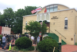 """""""This is certainly an appropriate place to be; this is an 80-year community,"""" said Imam Talib Shareef, president of Masjid Muhammad. """"We were the first group of Muslims that really lifted up the American flag and Muhammad Ali was right along with us,"""" he added. (WTOP/Dick Uliano)"""