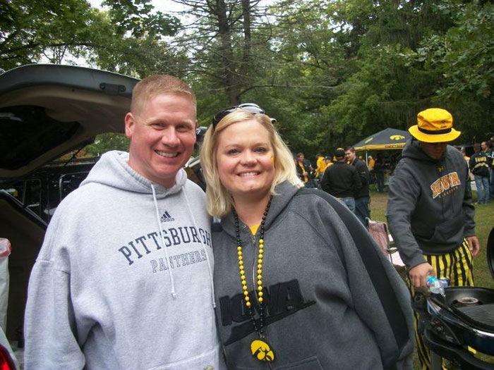 Grubbs and his wife Emily at the Backyard Brawl. (Courtesy: Tim Grubbs)