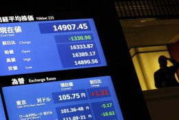 A visitor stands near the electronic financial index board showing Japan's Nikkei 225, top, that plunged 1,330.90 points to 14,907.45 at the Tokyo Stock Exchange in Tokyo, Friday, June 24, 2016. World financial markets were rocked Friday by Britain's vote to leave the European Union, with stock markets and oil prices crashing and the pound hitting its lowest level in three decades. (AP Photo/Eugene Hoshiko)