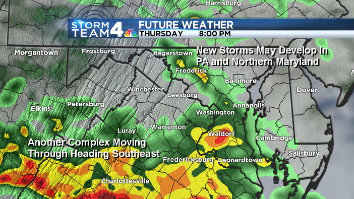 This image shows the likely track of evening thunderstorms Thursday. (Data: The Weather Company/ Graphics: Storm Team 4)
