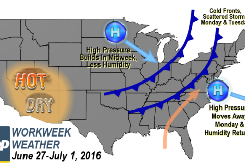 Workweek weather: Humidity returns with storm chances