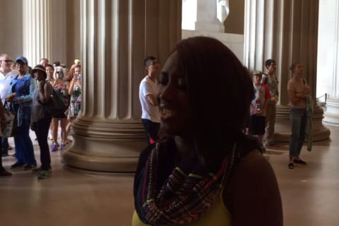 Tourist knocks out Lincoln Memorial crowd with anthem rendition (Video)
