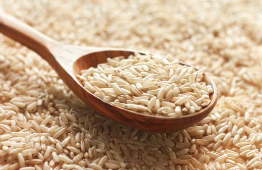 Spoon of brown rice