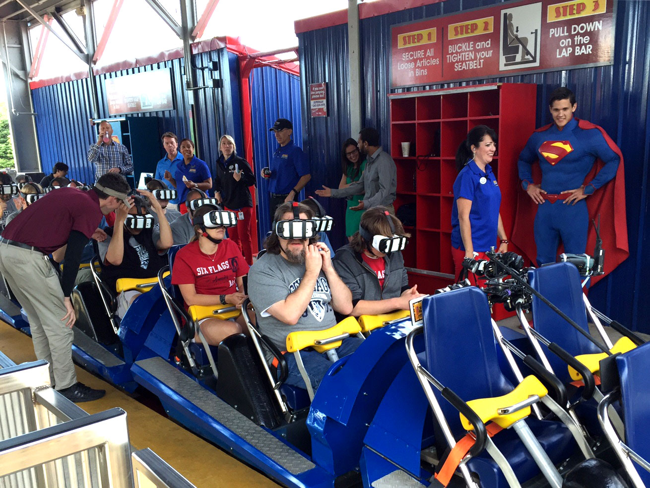 "Riders prepare for ""take off"" on Six Flags America's SUPERMAN: Ride of Steel Virtual Reality Coaster ride. (Courtesy Six Flags America)"